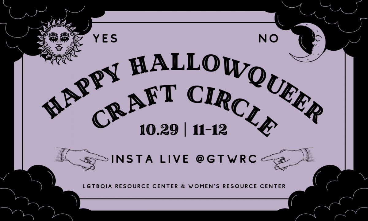 Flyer for Happy Hallowqueer Craft Circle in a lavender Ouija board style